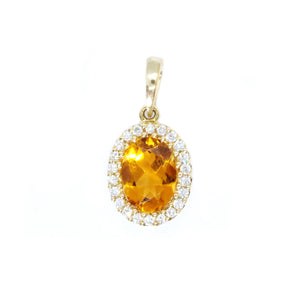 Classic Citrine and Diamond Pendant - Johnny Jewelry