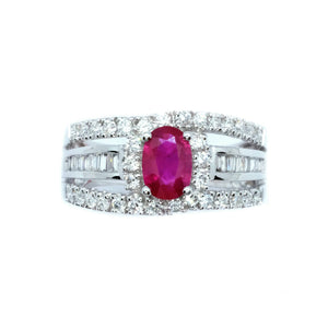 Diva Ruby & Baguette Diamond Ring - Johnny Jewelry