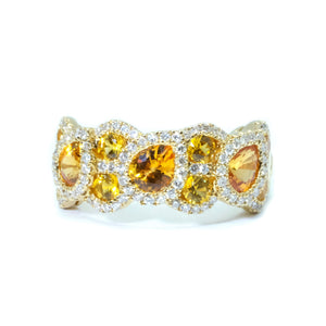 Bubble Yellow Sapphire & Diamond Ring - Johnny Jewelry