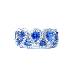 Crown Blue Sapphire & Diamond Ring - Johnny Jewelry