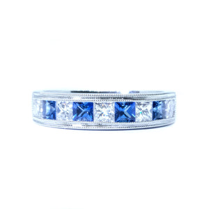 Channel Set Sapphire & Princess Cut Diamond Band - Johnny Jewelry