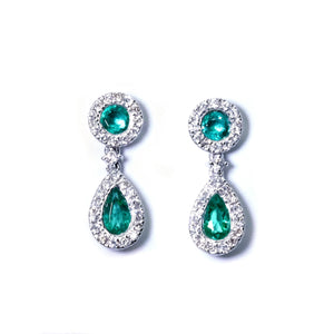 Dainty Droplet Emerald & Diamond Earrings - Johnny Jewelry