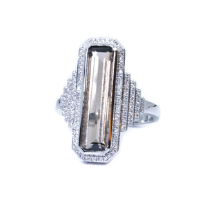 Art Deco Smoky Quartz & Diamond Ring - Johnny Jewelry