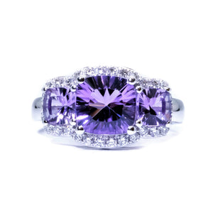 Trilogy Amethyst & Diamond Ring - Johnny Jewelry