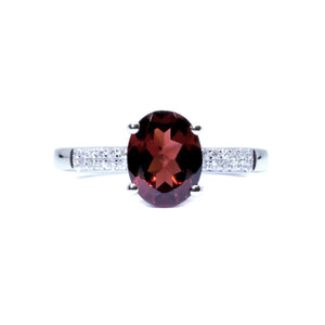 Dainty Garnet & Diamond Ring - Johnny Jewelry