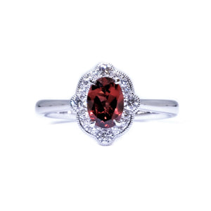 Gatsby Garnet & Diamond Ring - Johnny Jewelry