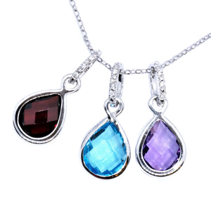 Teardrop Checker Topaz & Diamond Pendant