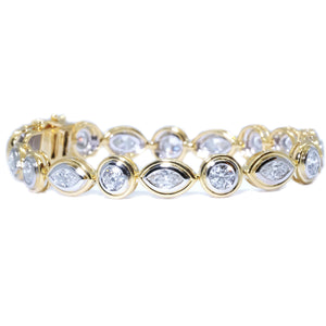 Two Tone Bezel Marquise and Round Diamond Tennis Bracelet - Johnny Jewelry