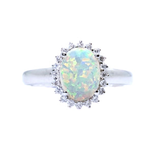 Classic Opal & Diamond Ring - Johnny Jewelry