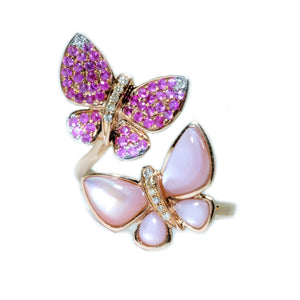 Pink Sapphire & Pink MOP Butterfly Ring