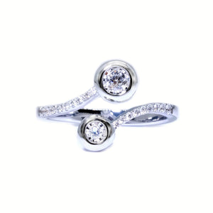 Two Stone Bypass Bezel Diamond Ring