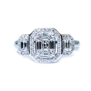 Trilogy Illusion Set Emerald Cut Diamond Ring - Johnny Jewelry