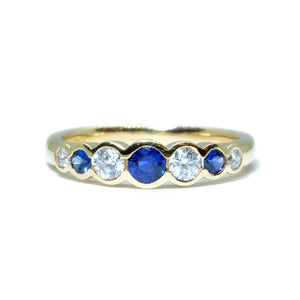 Bezel Set Sapphire & Diamond Band - Johnny Jewelry