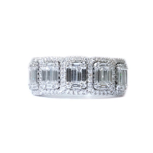 Illusion Set Emerald Cut Diamond Anniversary Band - Johnny Jewelry