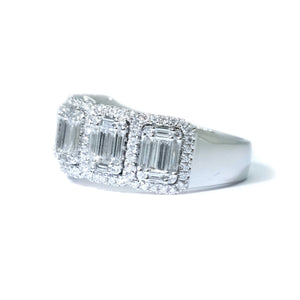 Illusion Set Emerald Cut Diamond Anniversary Band
