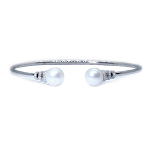 Double Pearl Twist Bangle