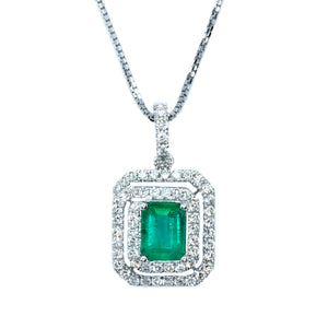 Double Halo Emerald Cut Emerald & Diamond Pendant - Johnny Jewelry