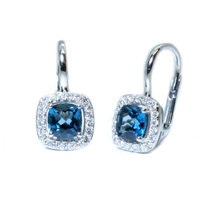 Cushion London Blue Topaz & Diamond Euro Wire Earrings