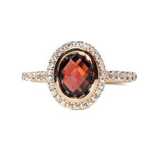Garnet & Diamond Halo Ring