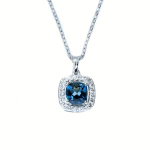 Cushion London Blue Topaz & Diamond Halo Pendant - Johnny Jewelry