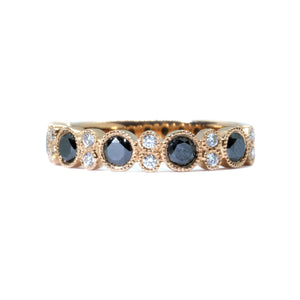 Bubble Black & White Diamond Ring - Johnny Jewelry