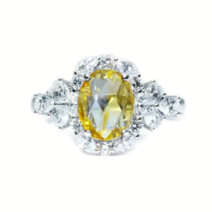 Rose Cut Yellow Sapphire & Diamond Ring - Johnny Jewelry