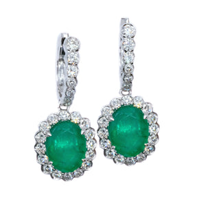Emerald & Diamond Halo Drop Earrings
