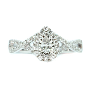 Pear Diamond Halo Ring With Infinity Band - Johnny Jewelry