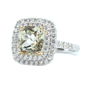 Yellow Kunzite & Diamond Cocktail Ring - Johnny Jewelry