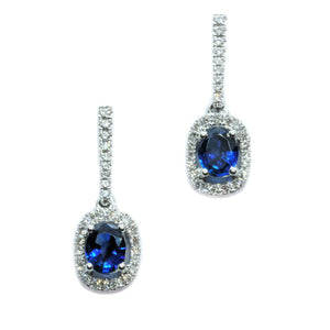 Dainty Sapphire & Diamond Dangling Earrings