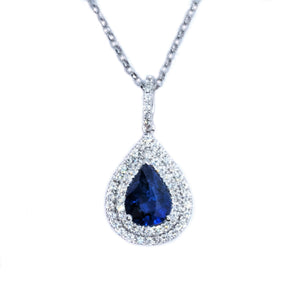 Teardrop Double Halo Sapphire & Diamond Pendant - Johnny Jewelry