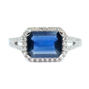 East-West Emerald Cut Sapphire & Diamond Ring - Johnny Jewelry