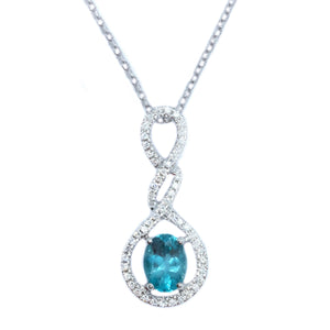 Droplet Apatite & Diamond Pendant - Johnny Jewelry