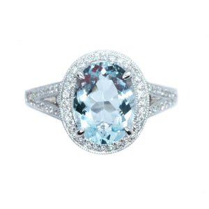 Vintage Style Aquamarine & Diamond Ring