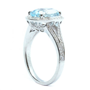Vintage Style Aquamarine & Diamond Ring - Johnny Jewelry