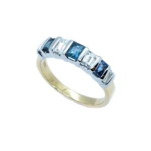 Bar Set Emerald Cut Diamond & Sapphire Band