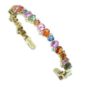 Multi Color Sapphires & Diamond Cuff - Johnny Jewelry