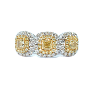 Three Stone Cushion Fancy Yellow Diamond Ring - Johnny Jewelry