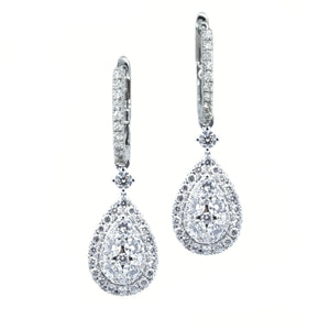 Illusion Set Teardrop Diamond Hoop Drop Earrings - Johnny Jewelry