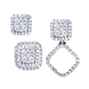 3-in-1 Cushion Shape Diamond Cluster Earrings & Jackets - Johnny Jewelry