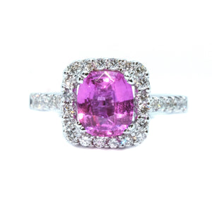 Cushion Pink Sapphire & Diamond Halo Ring - Johnny Jewelry