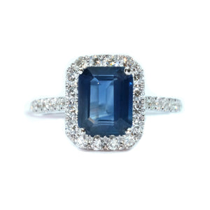 Emerald Cut Sapphire & Diamond Halo Ring