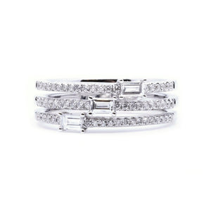 Three Band Stacked Baguette & Round Diamond Ring - Johnny Jewelry