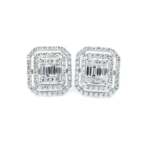 Art Deco Double Halo Illusion Set Emerald Cut Diamond Earrings - Johnny Jewelry