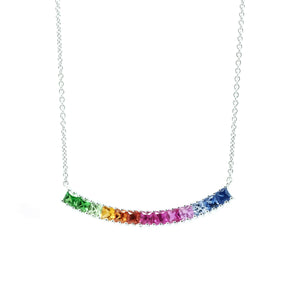 Curved Bar Princess Cut Rainbow Sapphire Necklace