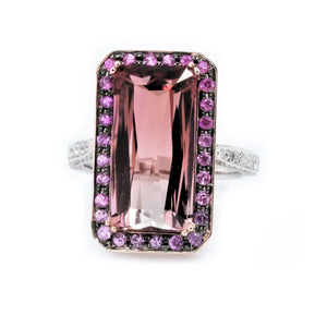 Two Tone Bi-color Tourmaline Pink Sapphire Halo & Diamond Ring - Johnny Jewelry