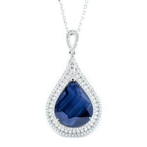 Lacy Teardrop Sapphire & Diamond Pendant - Johnny Jewelry