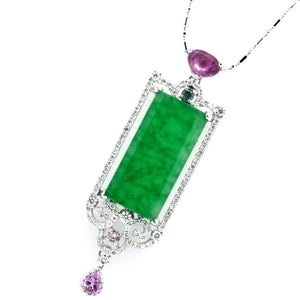 Art Deco Jade, Diamond & Sapphire Pendant - Johnny Jewelry