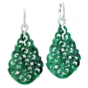 Diva Carved Jade Diamond Drop Earrings - Johnny Jewelry