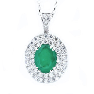 Double Halo Emerald & Diamond Pendant - Johnny Jewelry